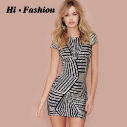 Wholesale Golden Tight Dresses - 2016 New golden sequins cap sleeve bodycon dress Summer Women Tight O-neck dress backless sleeveless midi dress 4357