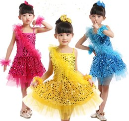 Wholesale Latin Dance Costumes For Girls - Children Kids Ballet Latin Dancewear Stage Dancing Clothing Dance Costume Child Latin Ballet Dance Dress For Girls