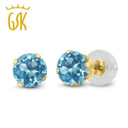 Wholesale Yellow Topaz Rings Women - Rea 14K Yellow Gold Women Classic Earrings 1.20 Ct Round 5mm Blue Natural Topaz Stud Earrings GemStoneKing