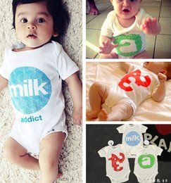 Wholesale Flower Milk - summer new boys girls cotton rompers ins infant flower rompers Infant Toddler milk Bodysuits boys girls number bamboo Jumpsuits