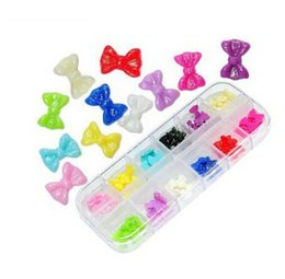 Смола 3d искусство онлайн-Wholesale-60 Pcs Beauty 3D nail charms Resin Bowknot Glitter Stickers  DIY Nail Art Decorations styling tools decorated nail tips U21