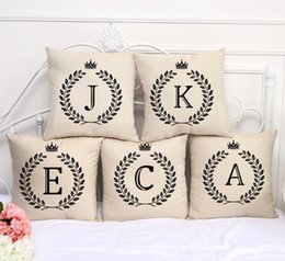 """Wholesale Single Throw - NEW A-Z Single Letters Printed Square Cushion Cover 18""""x18"""" Cotton&Linen Home Sofa Car Decorative Thrown Pillow Case"""