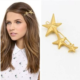 Wholesale Metal Star China - New Five-pointed stars hair clips for girls & women gold plated alloy Hairgrips hairwear Fashion design metal stars hairclips hair Jewelry