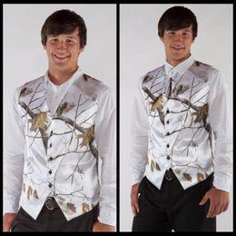 Wholesale camo vests - 2017 Hot V Neck Camo Mens Wedding Vests Man's Wedding Groom Wear Realtree Snow White Camo Formal Tuxedo Vest Custom Made