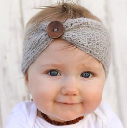 Wholesale Girls Fashion Europe - Europe Fashion Infant Baby Knitted Headbands Girls Hair Bands Childrens Button Knot Hair Accessories Lovely Kids Headwraps 10 Colors 12238