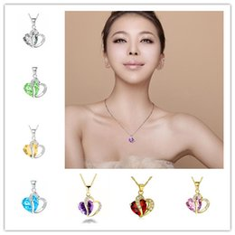 Wholesale Heart Shaped Necklaces For Girls - Trendy Crystal Pendant Friendship Shape Small Love Heart Long Chain Statement Necklace Stone Silver for Girls