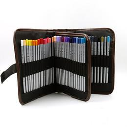 Wholesale Makeup Holder Bag - 72 holes Canvas 3 folds Pouch Makeup Comestic Brush Pen Storage pecncil box School Pencil Case Material Escolar Art Supplies