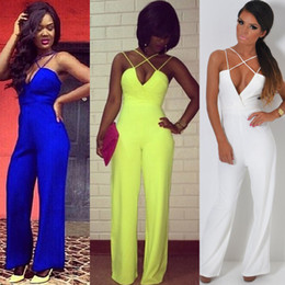 Wholesale Sexy Legging Outfits - 2016 Wide Leg Jumpsuit For Woman Sexy V-Neck Strappy Club Party Jumpsuits Casual Long Playsuit Pants Summer Outfit HZ031