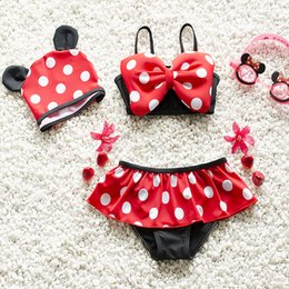 Wholesale P Red - Kids Swimwear Cartoon Baby Swimsuit Top+Skirt+Hat 3 Pcs Bathing Suit Bikini with Swimming Cap 5 p l