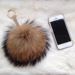 Wholesale Genuine Fox Fur Bag - Bag Charm Real Raccoon Fur Ball Keychain Genuine Fox Fur Pompom Pendant Fox Fur Pompom Bag Accessories
