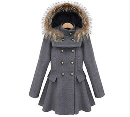 Wholesale Double Breasted Skirt Coat - Wholesale-Winter Coat Women Button Ruffles Skirt Hooded Double Breasted with fur hat Woolen Long Solid Color Patchwork Women Basic Coats