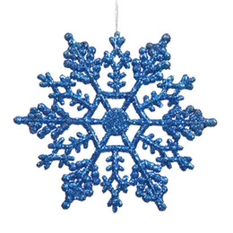 "Wholesale Blue Christmas Ornament - Christmas Ornaments Snowflake Colorful Glitter 4"" Plastic Glitter Snowflake Club Pack of 12 Interior decoration free shipping"