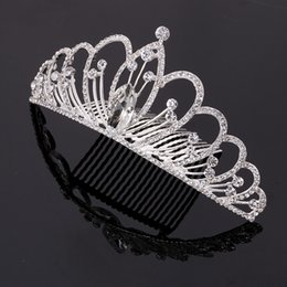 Wholesale Diamonds Bridal Headpieces - 2PC Rhinestones Silver Bridal Headpiece Wedding Tiara Crown for women drop shipping