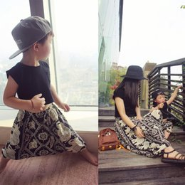 Wholesale Mom Son Outfits - INS Summer European Style Boy Girl Children Baby Black High Waist Elephant Pant Trousers Family Outfits Suit Kid Mom Son Agaist Mosquito