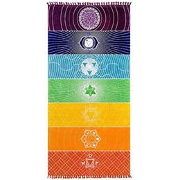 C полотенца онлайн-Индия Мандала йога коврик продолговатой формы полосы 7 чакра пляжное полотенце для путешествий солнцезащитный крем Радуга одеяло мода 17sj C R