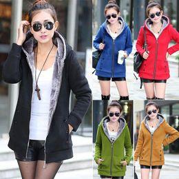 Wholesale Ladies Velvet Winter Jacket - Clearance Sale New Fall And Winter Clothes Thick Velvet Hoodies Sweatshirt Woman Coat Plus Size Jacket Slim Ladies Coats