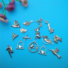 Wholesale Tibetan Silver Bird Beads - Mixed Tibetan Silver Bird Charms Pendants Jewelry Making Bracelet Necklace Fashion Popular Jewelry Findings & Components Accessories V163