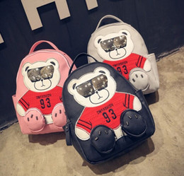 Wholesale Denim Red Hot Girls - Hot Sale Women Bear Backpacks Fashion Lovely PU Leather School Tote Bags Girls Schoolbag Knapsack Ladys Phone Money Book Bags