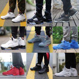 Wholesale Rubber Field - cheap 5 5s men Basketball Shoes Premium Heiress Camo Metallic Field Red blue Suede White Cement Triple Black 5s sports shoes Sneaker