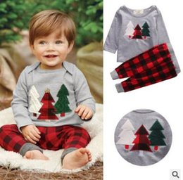 Discount kids clothes trees - Christmas Outfits Kids Boys Christmas Clothing Winter Christmas Tree Long Sleeve Tops Coat Plaid Pants Infant Toddler Warm Clothes Outwear
