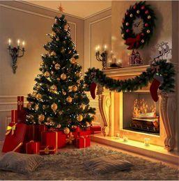 Wholesale Indoor Garland - Indoor Room Fireplace Christmas Tree Photography Backdrops Digital Printed Garland Carpet Present Boxes Children Kid Photo Studio Background