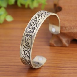 Wholesale Options Cuffs - Fashion Health Care Magnetic Bangle Hawks Engraved Two Color Options Bracelet Half Open Adjustable Cuff Wristbands