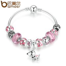 Wholesale Dog Glass Beads - Wholesale- BAMOER 2017 New Arrival Silver Color Lovely Dog Pendant Pink European Glass Beads Charm Bracelets & Bangles Jewelry PA3810