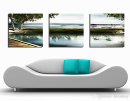 Wholesale Modern Art Nature Painting - Modern Beautiful Landscape Nature Picture Giclee Print On Canvas Home Decor Wall Art Set30315