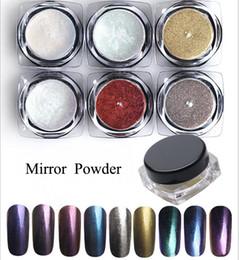Wholesale Colors Nails Powder - 6 Box set Shinning Mirror Powder Nail Glitter Powder Nail Art Chrome Pigment Glitters #6 Colors