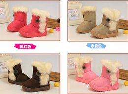 Wholesale Fabric Weather - Girls boys Kids Cold Weather Boots Furry Lined Soft Winter Warm Snow Boots Shoes Faux Suede children shoes colorful gift