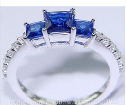 Wholesale Diamond Ring 3ct - Wholesale - Fashion jewelry Size 5 6 7 8 9 10 3ct Brand 10kt white gold filled blue sapphire topaz Three-stones Wedding Ring for love gift
