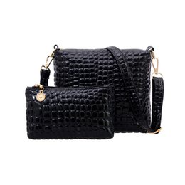 Wholesale Wholesale Quilted Leather - Wholesale-Hot! 2PCS Bag Set Messenger Shoulder Bag Crocodile PU Leather Casual Crossbody Quilted Bags Set Clutch Composite Handbags