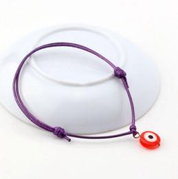 Wholesale Pcs Evil Eye - Hot ! 100 pcs Purple Wax Rope Red Resin Evil Eye Beads Charm Adjustable Bracelets