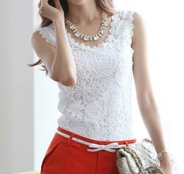 Wholesale Vintage Lace Crochet Sleeveless - FG1605 Blusas Femininas 2016 Summer Women Blouse Lace Vintage Sleeveless White Renda Crochet Casual Shirts Tops Plus Size S M L XL XXL