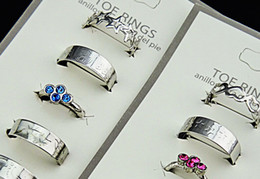 Wholesale Rings Austria Crystals - Wholesale Mix Style Austria Rhinestones Fashion Women Toe Rings Free Shipping Wholesale Jewelry 20pcs Lot