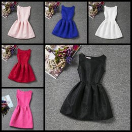 Wholesale Tank Prom Dresses - Pure color big girls dress sleeveless summer children skirt kids floral tank A-line party prom dresses Size 130 140 150 160