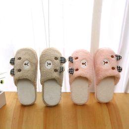 Wholesale Winter Slippers For Men - Cute Bear Winter Warm Antiskid Slippers Soft Plush Indoor Couple Slipper,women slippers winter,,home slippers for men woman E5M1 order<$18no