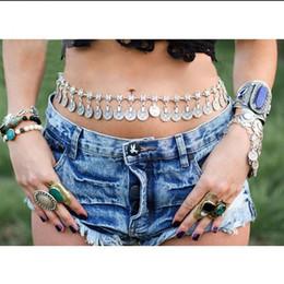 Wholesale Metal Belly Dance Belt - 2016 New Arrival Gypsy Antique Silver Plated Metal Dangle Hippie Boho Flower Turkish Bohemian Shimmy Belt Dance Body Chain Coin Belly