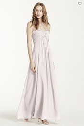 Wholesale Coral Pink Dress Cheaper - 2018 Sheer Long Chiffon F14867 Bridesmaid Dresses Floor-Length Ruched Bodice With Beading Sweetheart Neck Cheaper Dress