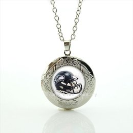 Wholesale Helmets For Halloween - 2016 Trendy locket necklaces Pendants 32 sport rugby football black helmet accessory present for men and women birthday NF096
