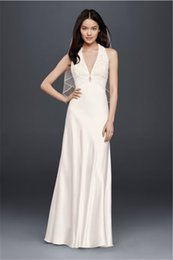 Wholesale Tops Plunging Necklines - Sheath Plunging V-neckline Wedding Dress with Lace Top 644796 Simple Backless Style Crystal Empire Waistline Bridal Dress