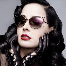 Wholesale Dita Sun Glasses - Hot Sale 2016 New Metal Frame Dita Sexy Cat Eye Sunglasses for Women Coating Brand vintage sun glasses