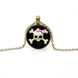 Wholesale Skull Sweater Necklace - 14 Style European Style Halloween Charms Skull Necklace Alloy Statement Necklaces for Women Men's Sweater Long Chain Time Gem Necklace