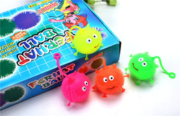 Wholesale Soft Toys Leads - 4 colors flash LED bouncy balls glowing smile soft rubber ball toy luminous for party supplies jump fluffy ball toys