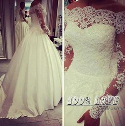Wholesale Images Long Summer Dresses - Real Image 2016 Spring Wedding Dresses With Lace Applique Beads Summer Bridal Gowns Bateau Neck Illusion Long Sleeves Arabic Wedding Gowns