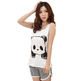 Wholesale Ladies Round Neck Vest - Wholesale- 2017 Hot sale Korea Style New Fashion Cute Cartoon Vest Summer Pajamas Lady Casual Sleeveless Female Leisure Wear Suits