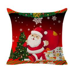 Wholesale Christmas Decorative Throw Pillows - Christmas Sofa Cushion Cover Decoration Square Pillowcase Printed Tree Ornament Gift Home Decor Linen Cover Throw Pillow Case Decorative Car