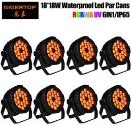 Wholesale Outdoor Dmx 512 Lighting - TIPTOP Stage Light 18x18W Mini Flat Waterproof Led Par Cans DJ Stage Light Equipment Floor Stand Hanging Bracket PWM dimming Outdoor IP65 X8