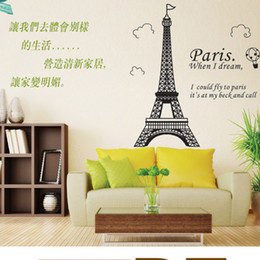 Wholesale Eiffel Wall Decor - 50x70cm Classic Creative Paris Eiffel Tower Wall Stickers Home Decor Living Room Bedroom Decoration Removable Stickers Sigle-piece Package