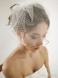 Wholesale double layer veils - Hot Sale Double Layer Birdcage Wedding Veil Bridal Accessories White Ivory Mesh Short Wedding Birdcage Veils Face Covers